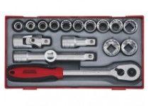 """TT1218-6  18 delers Pipenøkkelsett med 1/2"""" firkantfeste Teng Tools"""