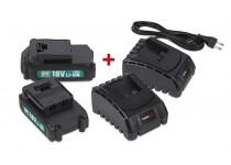 Batterier 18V (2stk.) + lader x 2 stk. Powerplus
