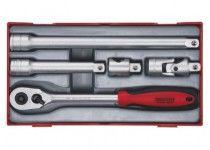"""Skrallenøkkelsett med 1/2"""" □-feste Teng Tools TT1205 5 delers"""